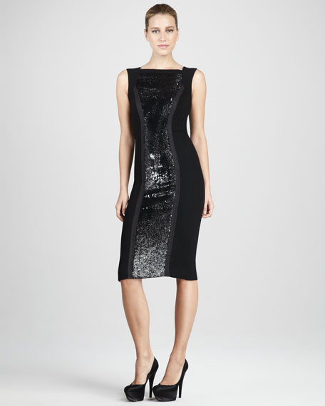 Sequin-Panel Cocktail Dress