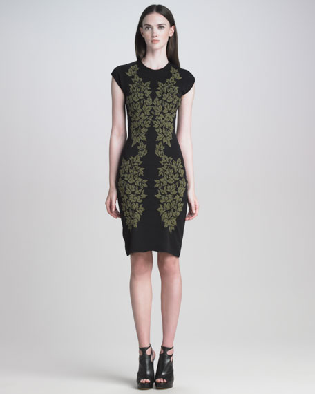 Leaf Jacquard Dress