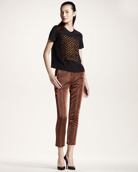Metallic Cropped Trousers