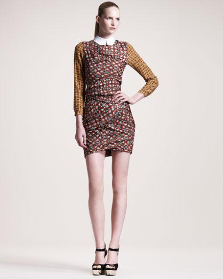 Printed Contrast-Collar Dress