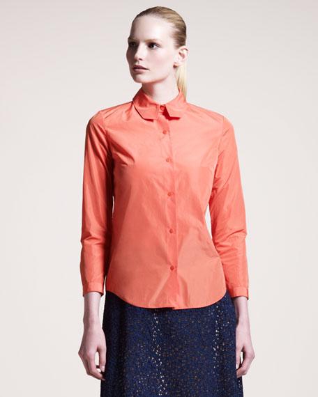 Long-Sleeve Taffeta Shirt