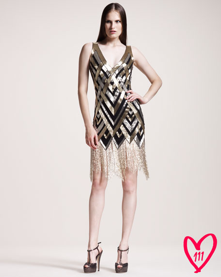 BG 111th Anniversary Sequined-Pattern Cocktail Dress