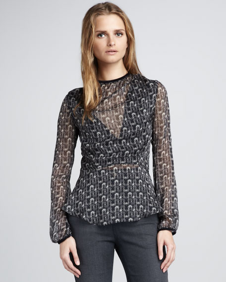 Balex Sheer Printed Blouse