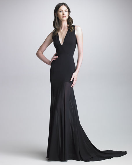 Darisa Sheer-Skirt Gown
