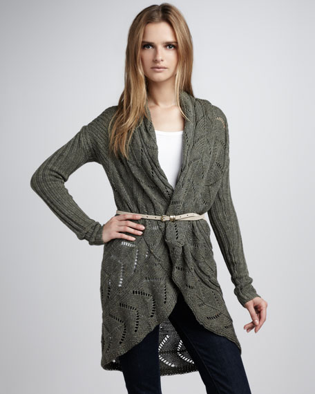 Pointelle Draped Sweater, Arugula