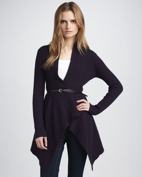 Open-Front Cashmere Sweater, Black Currant