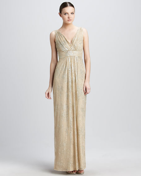 Metallic Empire-Waist Gown