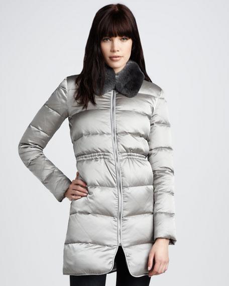 Satin Fur-Collar Puffer Coat