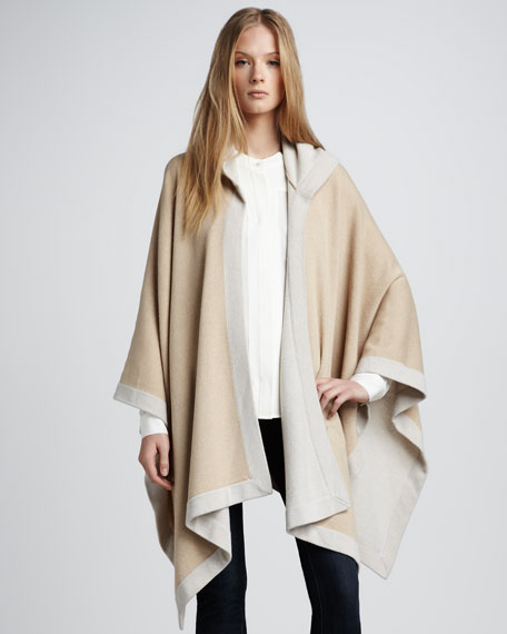 Two-Tone Hooded Poncho
