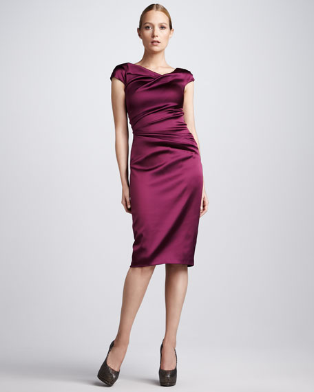 Asymmetric Ruched Cocktail Dress, Burgundy
