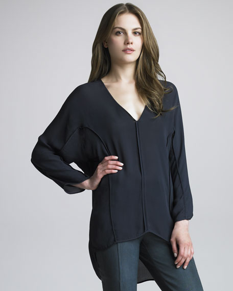Oversize Silk Top, Ebony