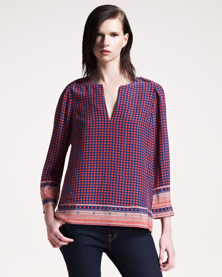 Amy Printed Silk Blouse