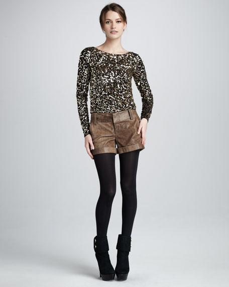Cady Cuffed Leather Shorts