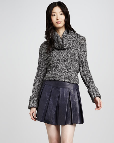Box-Pleat Leather Miniskirt