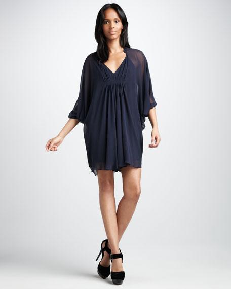 Fleurette Shift Dress, Steel Blue