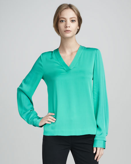 Viv Long-Sleeve V-Neck Top