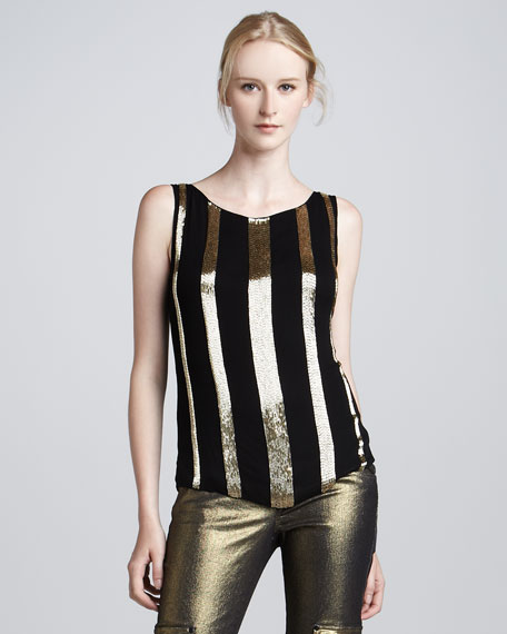 Cheryl Sequin-Stripe Tank