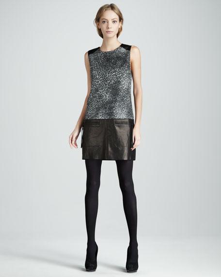 Leopard-Print/Leather Shift Dress