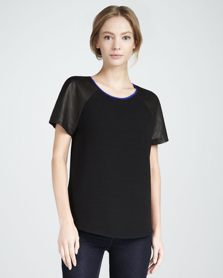 Leather-Sleeve Tee