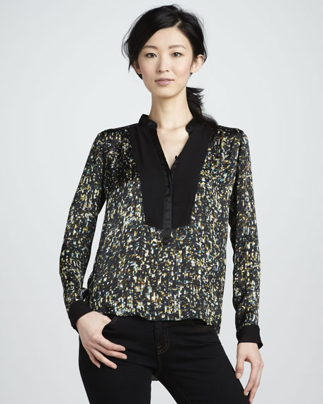 Sequined Henley Blouse