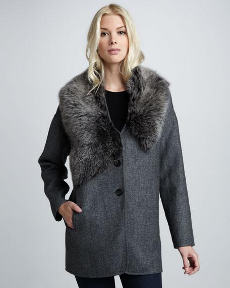 Lamb Fur-Collar Coat