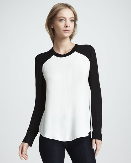 Colorblock Raglan-Sleeve Blouse