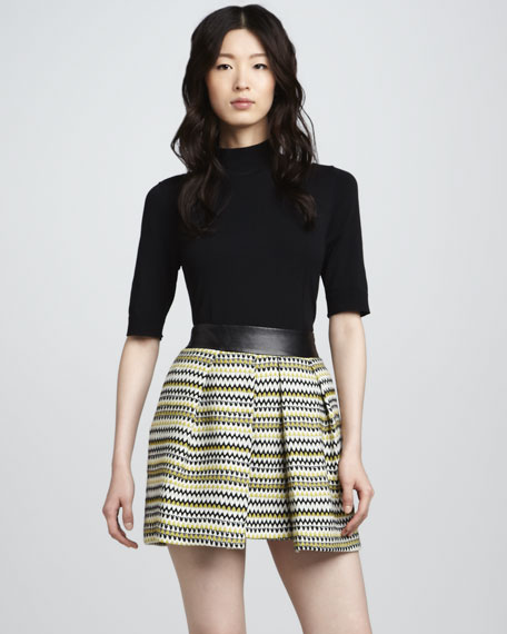 Naomi Leather-Waist Skirt