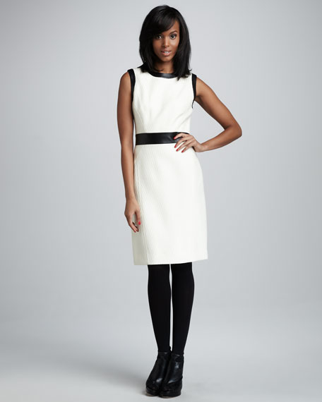 Leather-Trim Knit Dress