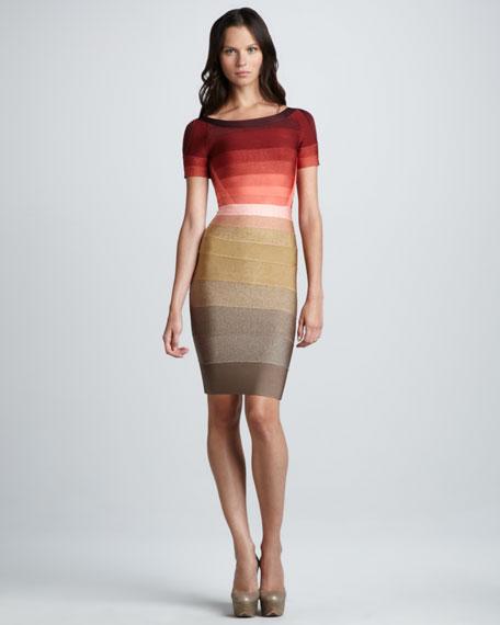 Ombre-Stripe Short-Sleeve Bandage Dress