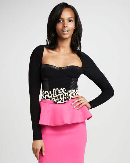 Lali Leather-Trim Bustier Top
