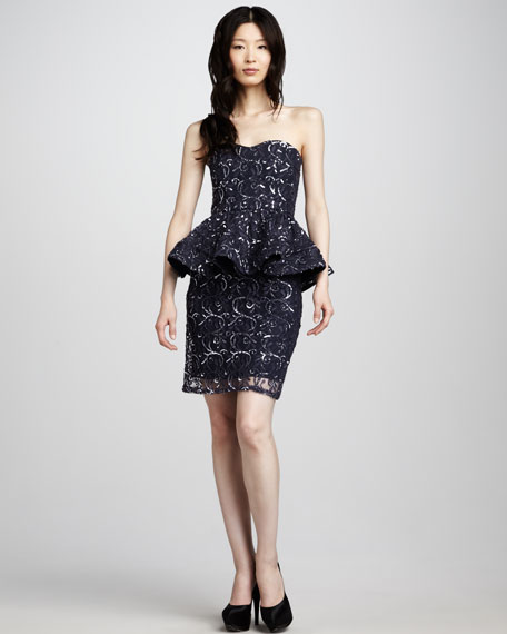 Elise Sequined Peplum Dress