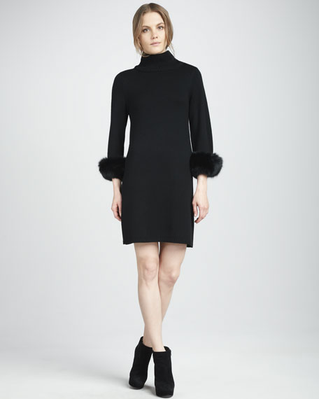 Gilda Fur-Cuff Dress