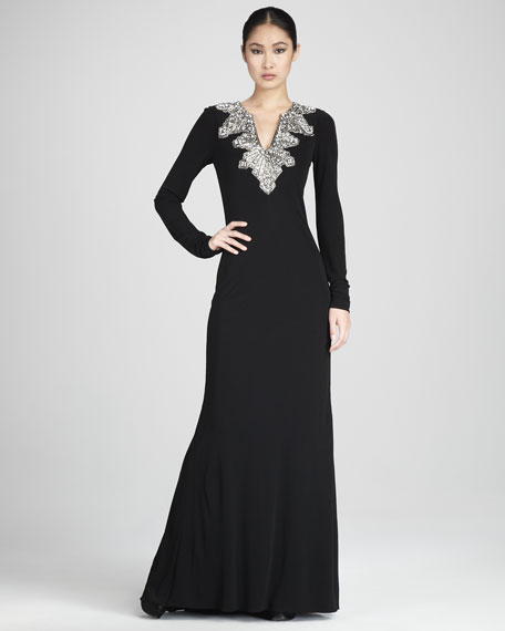 Long-Sleeve Deco-Bead Gown