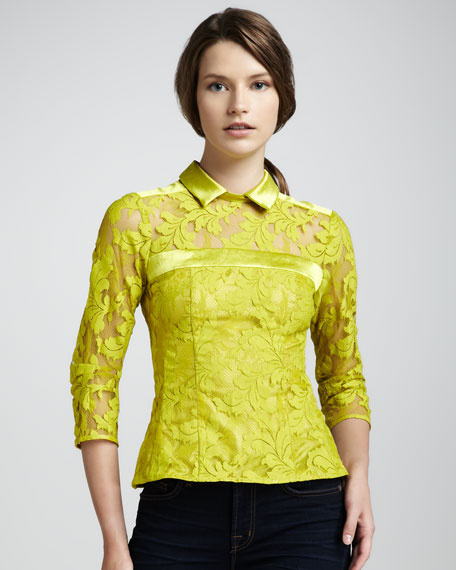 Flaming Love Lace Top, Chartreuse