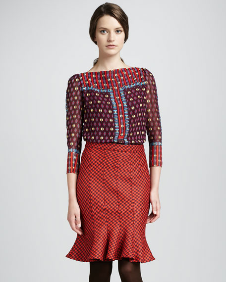 Celestial Flare-Hem Houndstooth Skirt