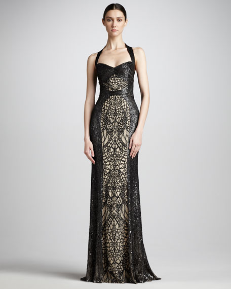 Sequin-Lace Halter Gown
