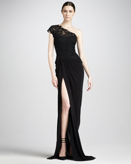 Lace-Bodice Jersey Gown