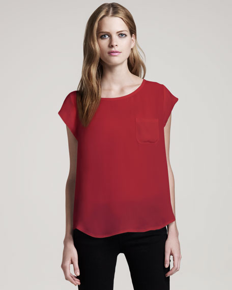 Rancher Cap-Sleeve Blouse, Currant