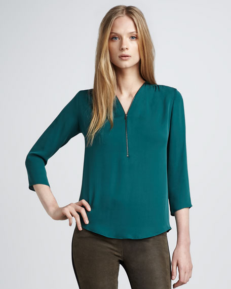 Silk Zip Blouse, Emerald