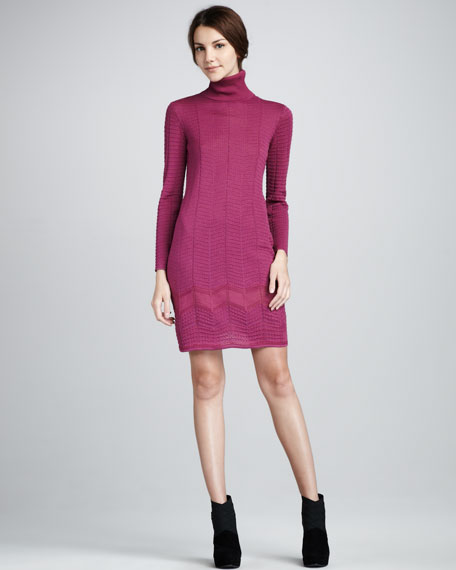 Dot-Stitch Long-Sleeve Turtleneck Dress