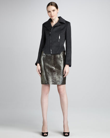 Bennet Metallic Leather Skirt