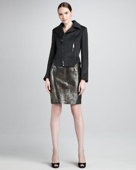 Bennet Metallic Leather Skirt