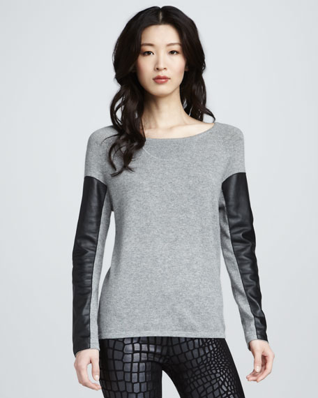 Leather-Sleeve Sweater, Gray
