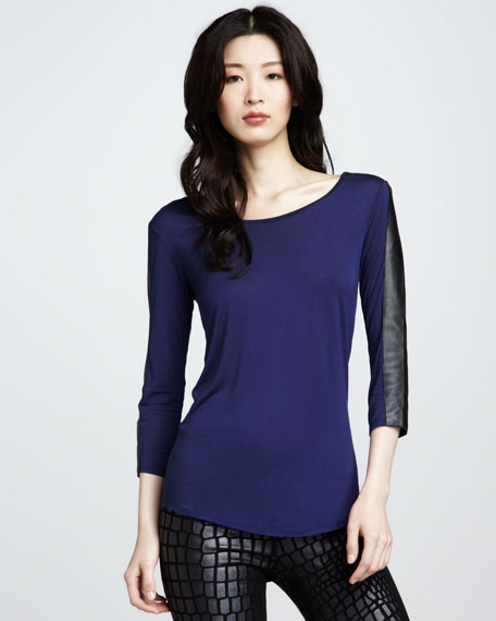 Dovina Leather-Sleeve Top