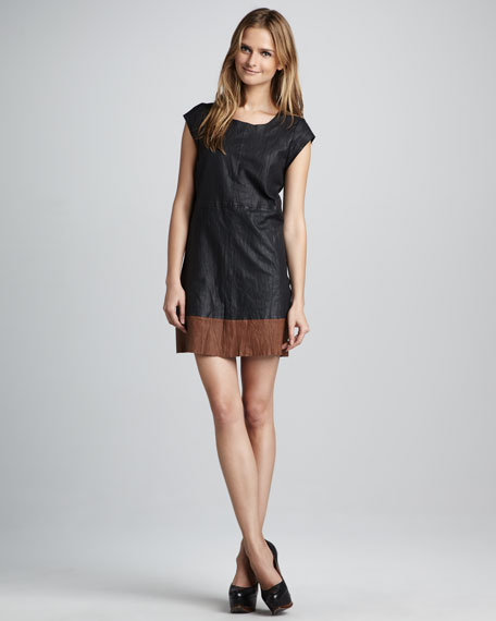 Aloisa B Leather Contrast-Hem Dress