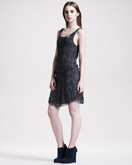 Nicola Beaded Silk Dress