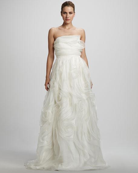 Swirl Organza Strapless Gown