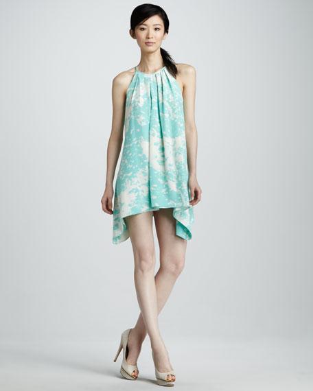 Printed Halter Cocktail Dress