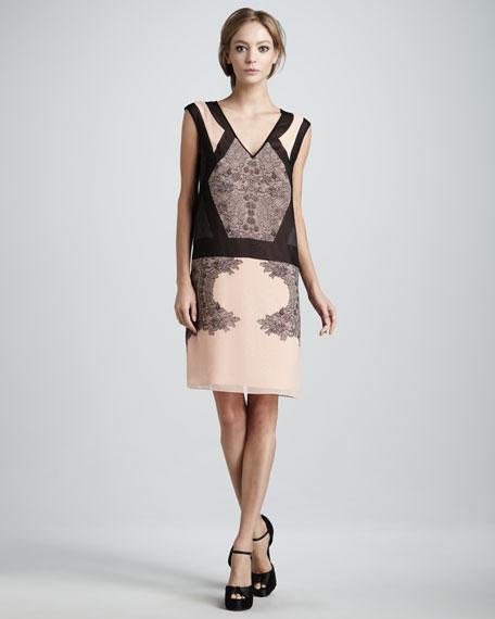 Printed Chiffon Drop-Waist Dress
