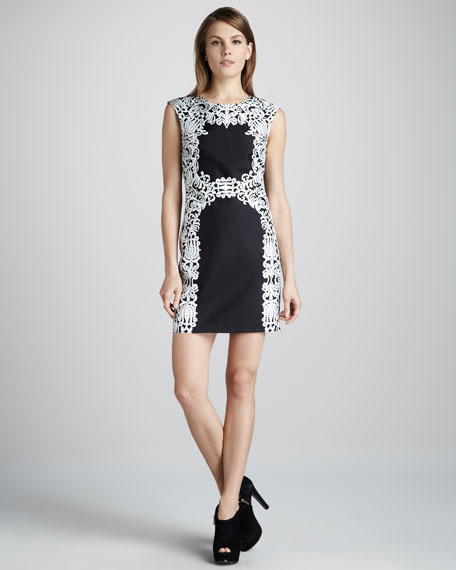 Lace-Print Silk Dress